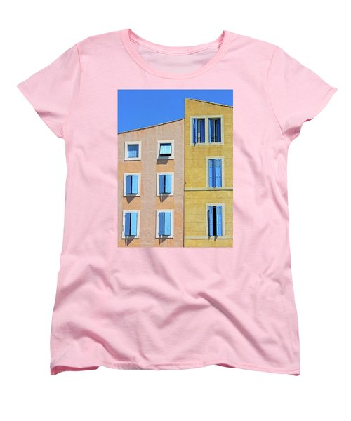 Women's T-Shirt (Standard Cut) featuring the photograph Windows Martigues Provence France by Dave Mills