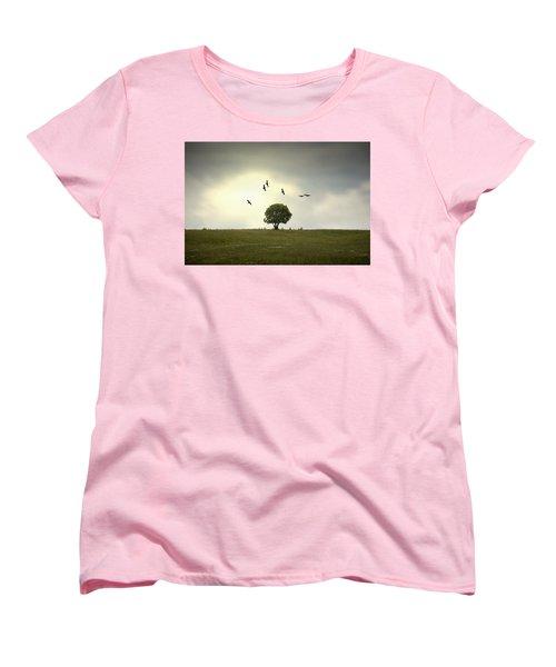 Wings Over The Tree Women's T-Shirt (Standard Cut) by Alfio Finocchiaro