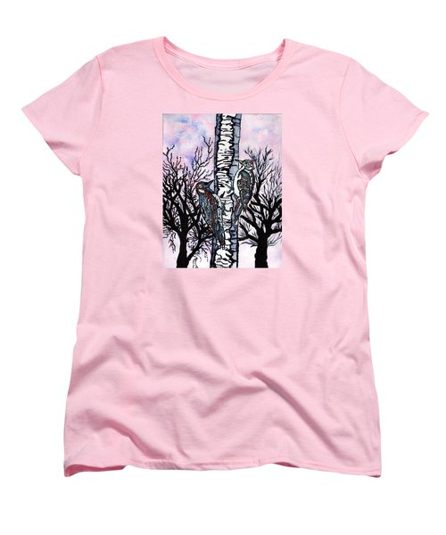 Women's T-Shirt (Standard Cut) featuring the painting Winter In The Country by Connie Valasco
