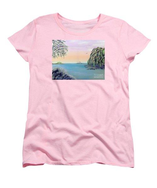 Winter On Lake Ponchartrain Women's T-Shirt (Standard Cut) by Alys Caviness-Gober