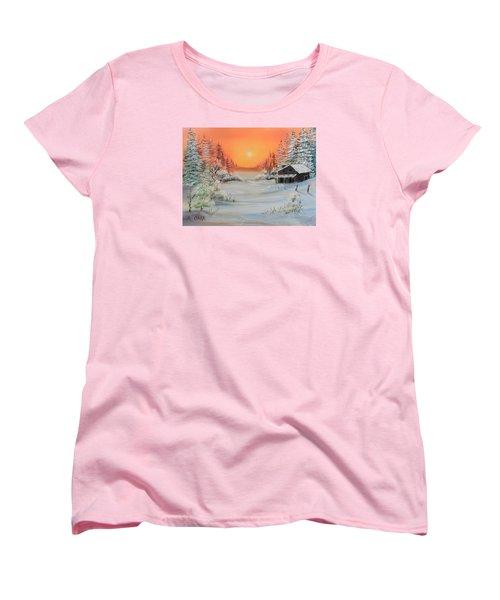 Winter Scene Women's T-Shirt (Standard Cut) by Remegio Onia