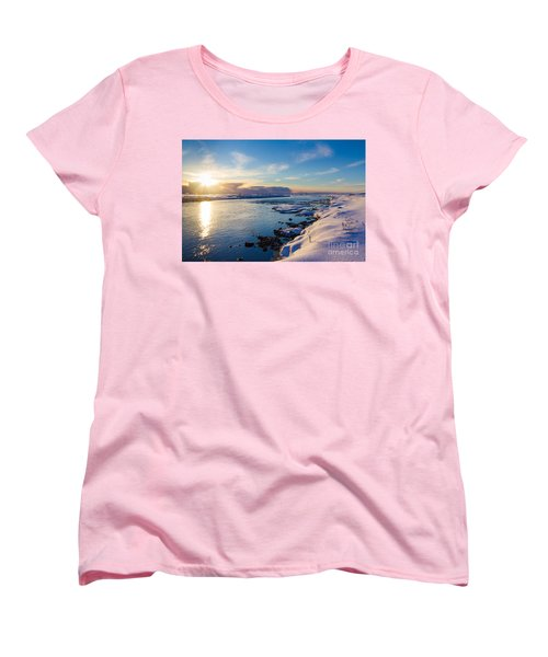 Women's T-Shirt (Standard Cut) featuring the photograph Winter Sunset In Iceland by Peta Thames