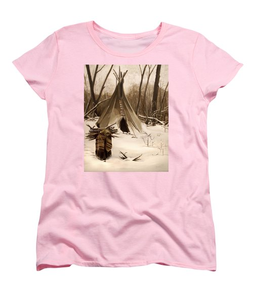Women's T-Shirt (Standard Cut) featuring the painting Wood Gatherer by Nancy Griswold