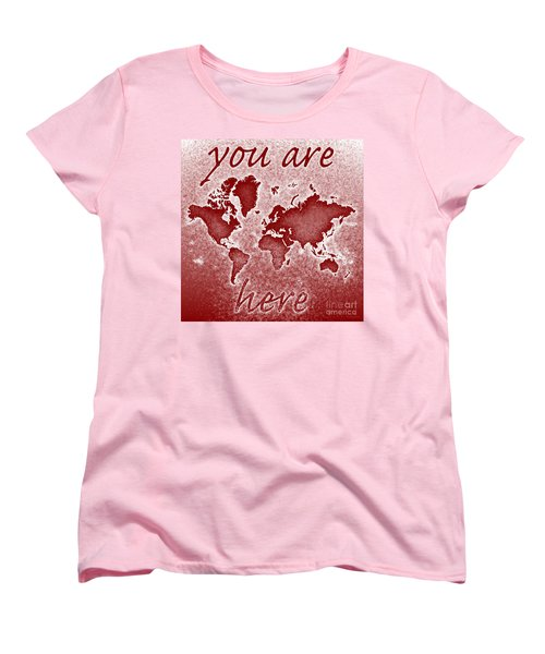 World Map You Are Here Novo In Red Women's T-Shirt (Standard Cut) by Eleven Corners