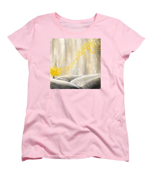 Yellow And Gray Landscape Women's T-Shirt (Standard Cut) by Lourry Legarde