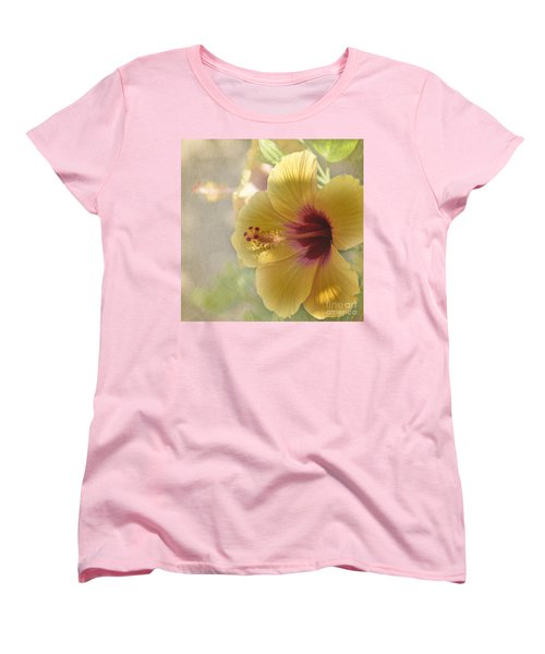 Yellow Hibiscus Women's T-Shirt (Standard Cut) by Peggy Hughes