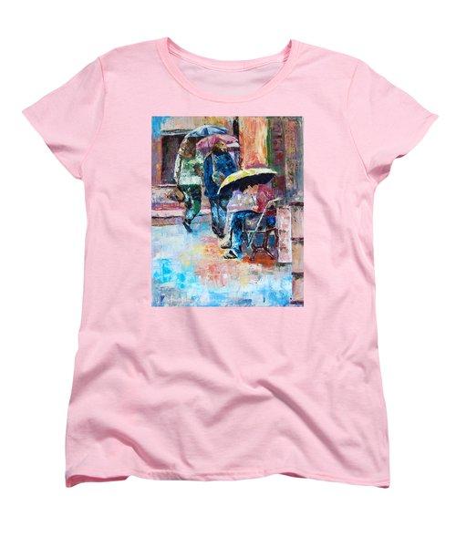 Yellow Umbrella Women's T-Shirt (Standard Cut) by Janet Garcia