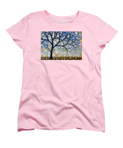 Women's T-Shirt (Standard Cut) featuring the painting Abstract Tree Nature Original Painting Starry Starry By Amy Giacomelli by Amy Giacomelli