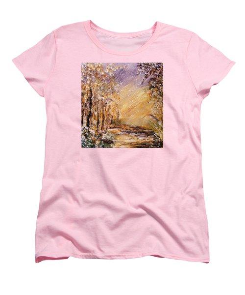 Women's T-Shirt (Standard Cut) featuring the painting Autumn Snow by Karen  Ferrand Carroll