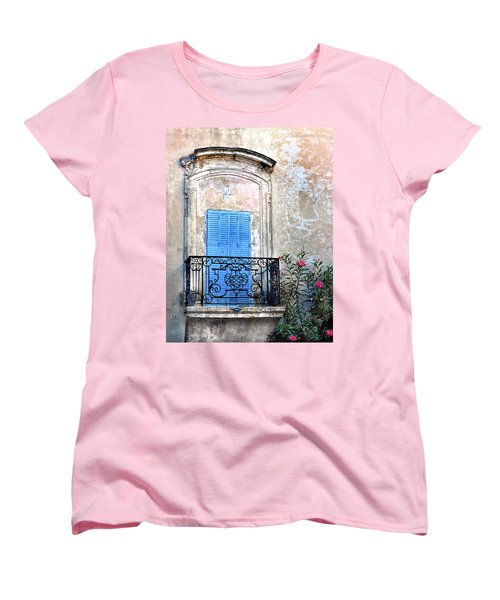 Women's T-Shirt (Standard Cut) featuring the photograph Balcony Provence France by Dave Mills