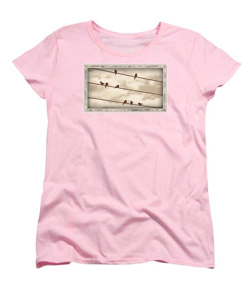 Birds On Wires Women's T-Shirt (Standard Cut) by Susan Kinney