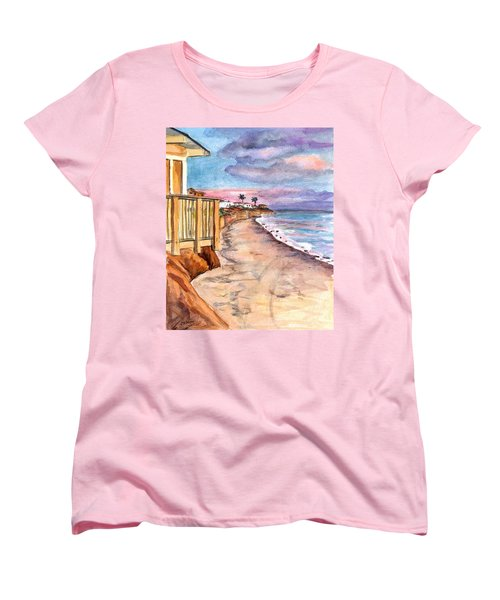 Women's T-Shirt (Standard Cut) featuring the painting California Coast by Clara Sue Beym