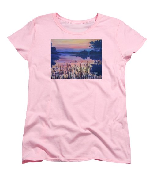 Women's T-Shirt (Standard Cut) featuring the painting Chincoteaque Island Sunset by Julie Brugh Riffey