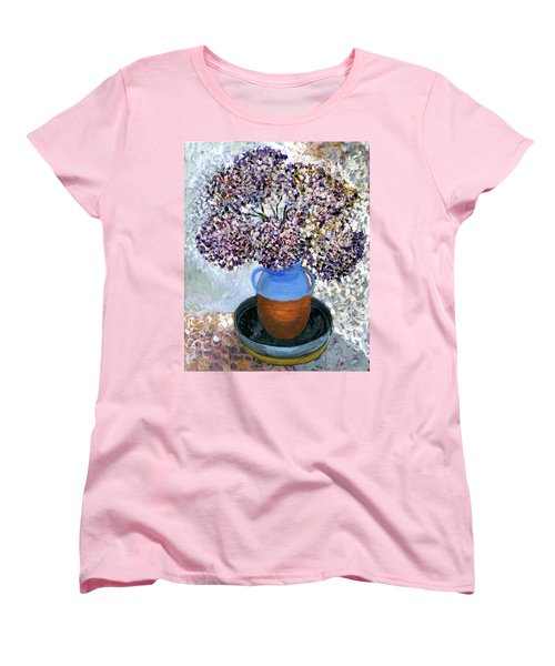 Colorful Impression Of Purple Flowers In Blue Brown Ceramic Vase Yellow Plate With Green Branches  Women's T-Shirt (Standard Cut) by Rachel Hershkovitz