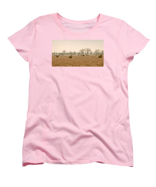 Earlying Morning Hay Bails Women's T-Shirt (Standard Cut) by James Steele