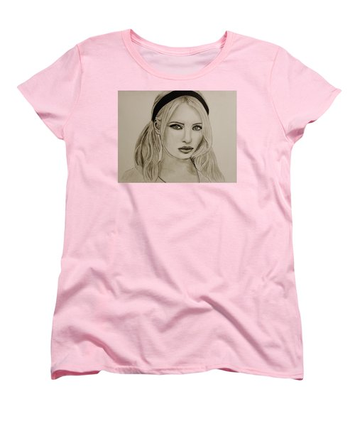 Women's T-Shirt (Standard Cut) featuring the drawing Emily by Michael Cross