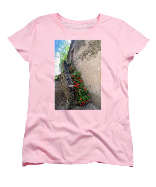 Women's T-Shirt (Standard Cut) featuring the photograph Flower Stairway by Dave Mills