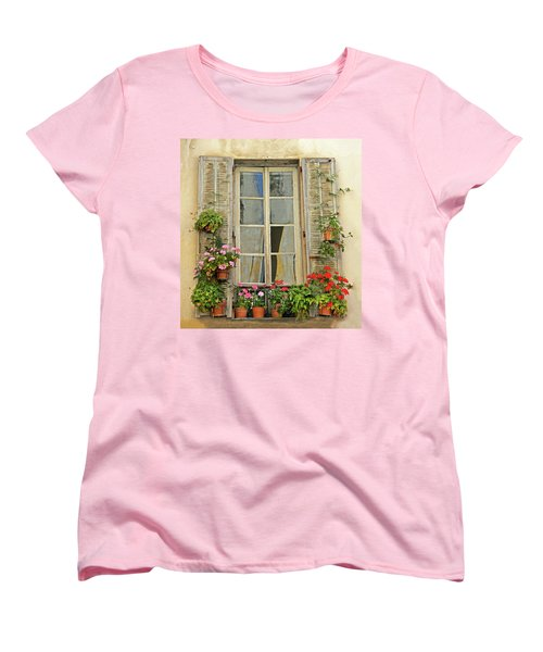 Women's T-Shirt (Standard Cut) featuring the photograph Flower Window Provence France by Dave Mills