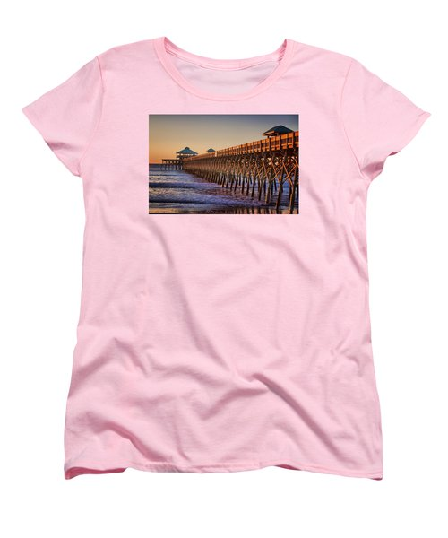 Folly Beach Pier Women's T-Shirt (Standard Cut) by Lynne Jenkins