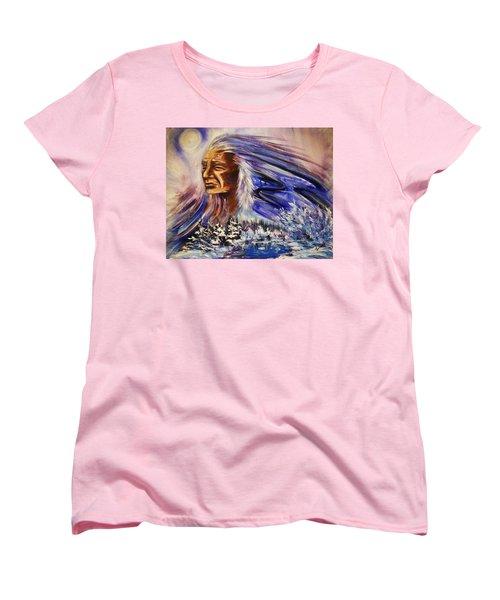 Women's T-Shirt (Standard Cut) featuring the painting Great Father - Winter by Karen  Ferrand Carroll