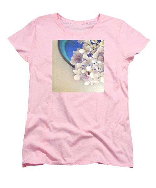 Hydrangeas In Blue Bowl Women's T-Shirt (Standard Cut) by Lyn Randle