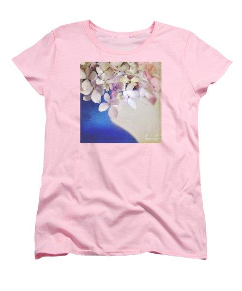 Hydrangeas In Deep Blue Vase Women's T-Shirt (Standard Cut) by Lyn Randle