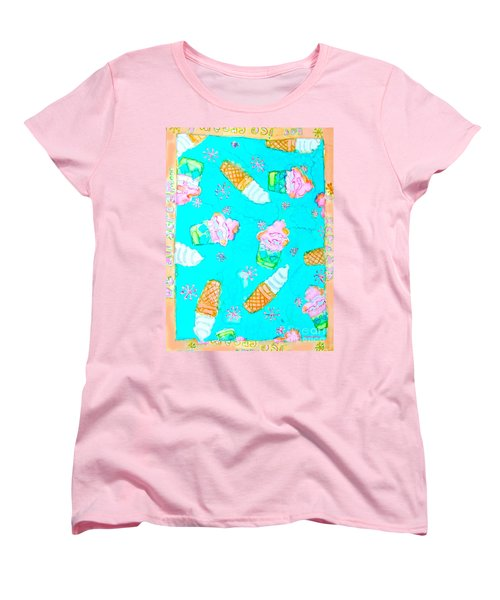 Women's T-Shirt (Standard Cut) featuring the painting Ice Cream I Scream by Beth Saffer