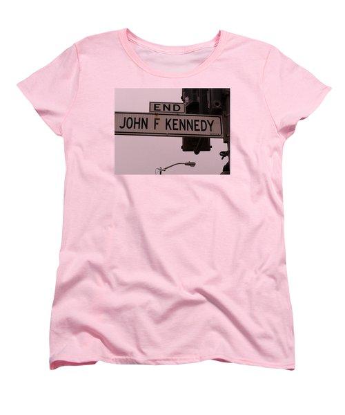 Women's T-Shirt (Standard Cut) featuring the photograph Jfk Street by Bill Owen