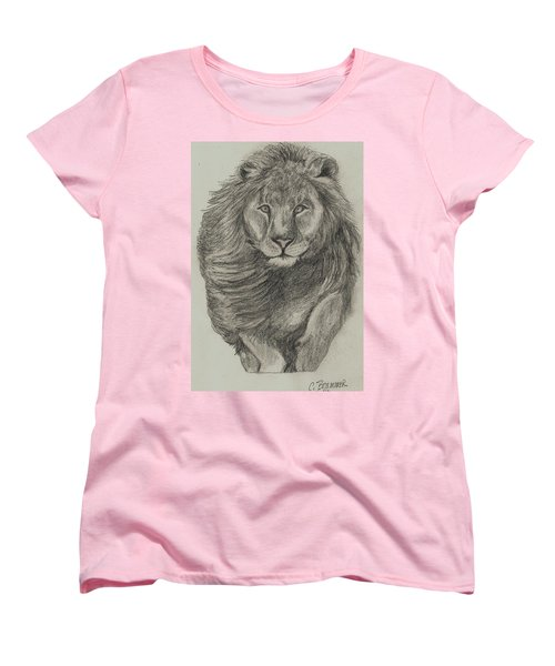 Women's T-Shirt (Standard Cut) featuring the drawing Lion by Christy Saunders Church