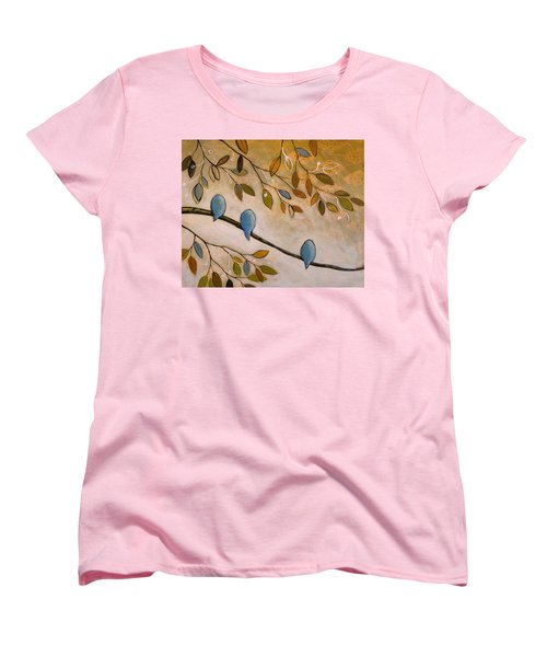 Women's T-Shirt (Standard Cut) featuring the painting Nature Birds Painting...peaceful Garden by Amy Giacomelli