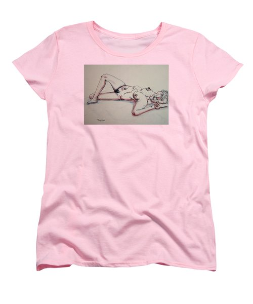 Nude In Contour Laying Women's T-Shirt (Standard Cut) by Rand Swift