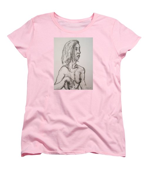 Nude In Washed Graphite Women's T-Shirt (Standard Cut) by Rand Swift
