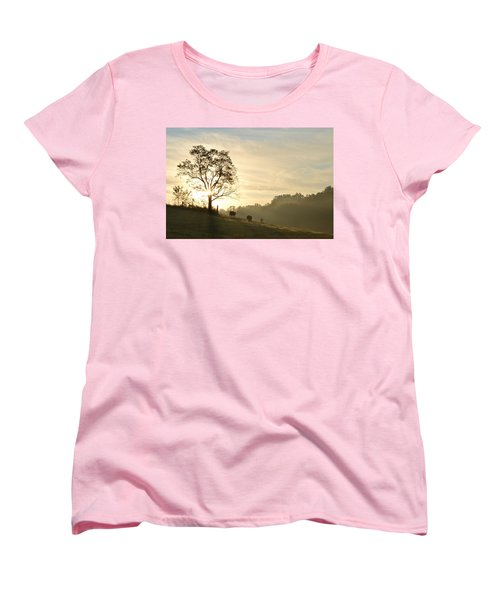 Women's T-Shirt (Standard Cut) featuring the photograph Pasture Sunrise by JD Grimes