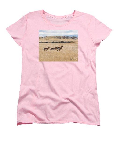 Pronghorn Antelopes On The Run Women's T-Shirt (Standard Cut) by Art Whitton