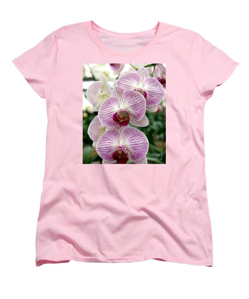 Women's T-Shirt (Standard Cut) featuring the photograph Purple Orchids by Debbie Hart