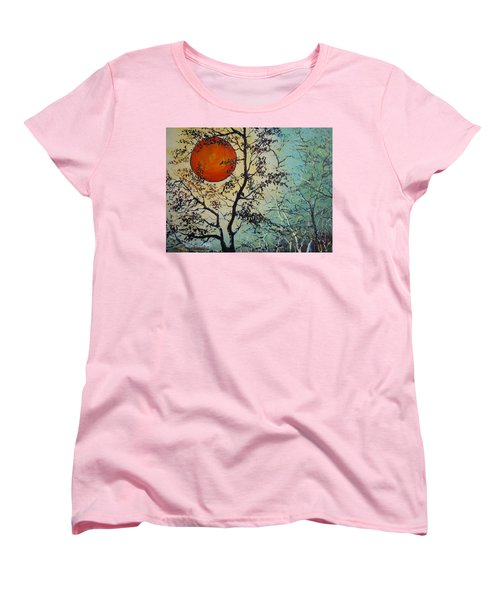Red Sun A Red Moon Women's T-Shirt (Standard Cut) by Dan Whittemore