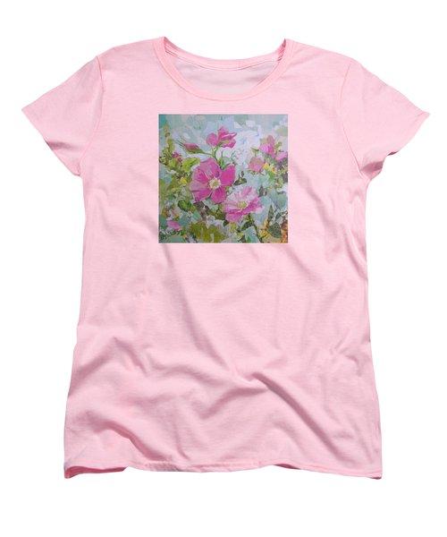 Shrub Roses Women's T-Shirt (Standard Cut) by Robin Birrell