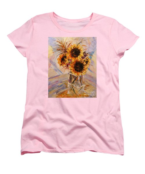 Women's T-Shirt (Standard Cut) featuring the painting Sunflowers by Karen  Ferrand Carroll