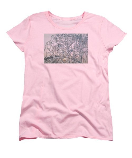 Women's T-Shirt (Standard Cut) featuring the photograph Sunrise Through Ice Covered Shrub by Tom Wurl