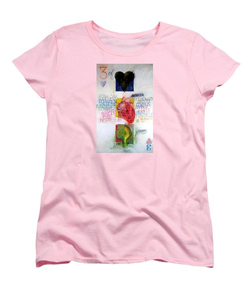 Women's T-Shirt (Standard Cut) featuring the painting Three Of Hearts 32-52 by Cliff Spohn