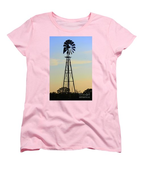 Women's T-Shirt (Standard Cut) featuring the photograph Windmill At Dusk by Kathy  White