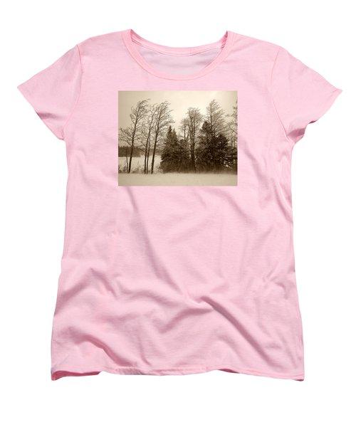 Women's T-Shirt (Standard Cut) featuring the photograph Winter Treeline by Hugh Smith