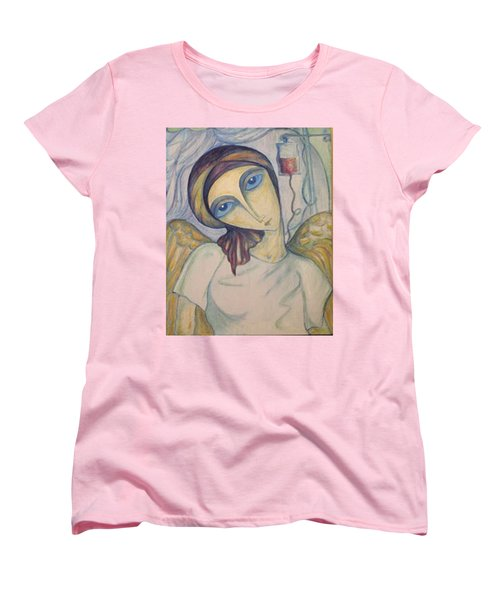 Women's T-Shirt (Standard Cut) featuring the painting Angel Of Mercy by Rae Chichilnitsky