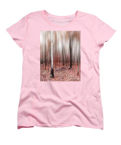 Women's T-Shirt (Standard Cut) featuring the photograph Birchforest In Fall by Hannes Cmarits