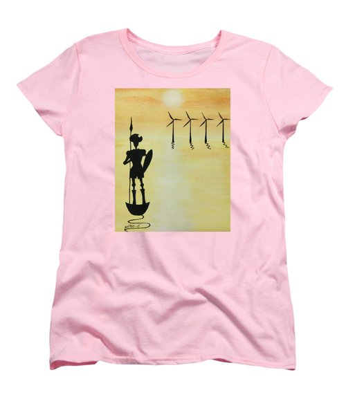 Women's T-Shirt (Standard Cut) featuring the painting Don Quixote by Edwin Alverio