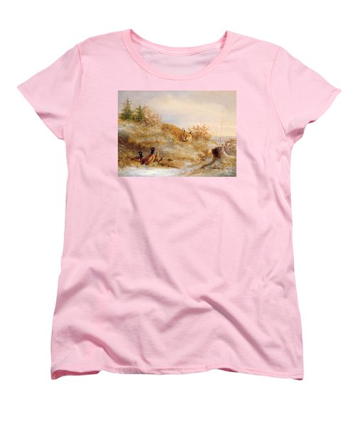 Fox And Pheasants In Winter Women's T-Shirt (Standard Cut) by Anonymous