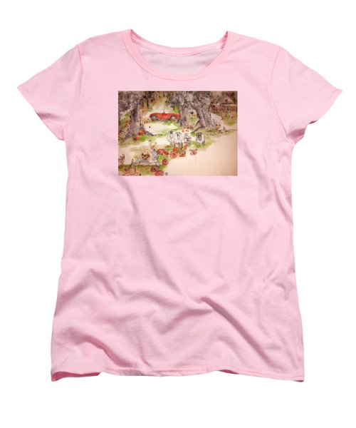 Women's T-Shirt (Standard Cut) featuring the painting Italy Love Life And  Linguini Album by Debbi Saccomanno Chan