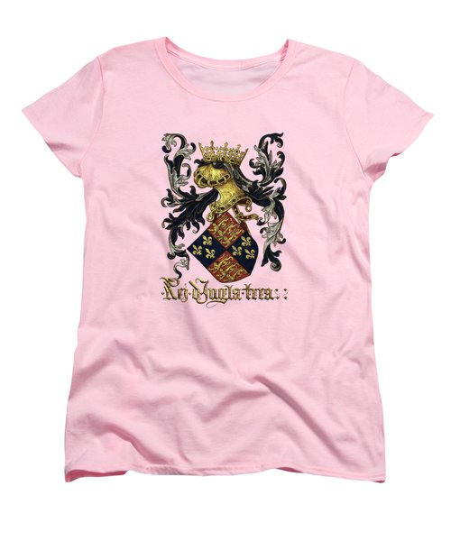 King Of England Coat Of Arms - Livro Do Armeiro-mor Women's T-Shirt (Standard Cut) by Serge Averbukh