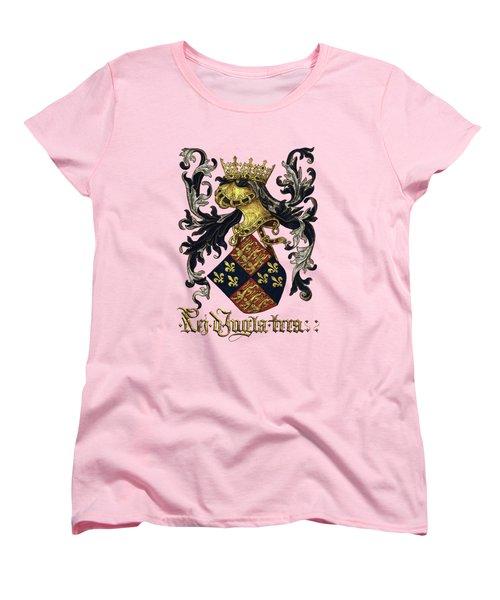 King Of England Coat Of Arms - Livro Do Armeiro-mor Women's T-Shirt (Standard Cut) by Serge Averbukh