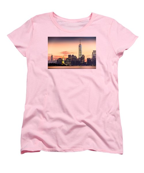 Lower Manhattan And The Statue Of Liberty At Sunrise Women's T-Shirt (Standard Cut) by Mihai Andritoiu